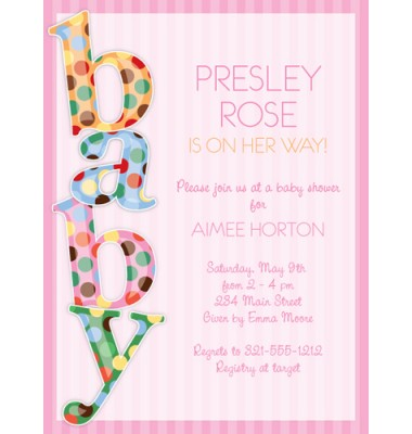 Baby Shower Invitations, Baby Dot Pink, Paper So Pretty