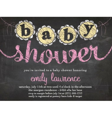 Baby Shower Invitations, Chalkboard Shower Pink, Paper So Pretty