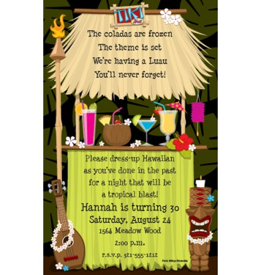 Luau Invitations, Tiki Hut, Paper So Pretty