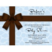 Party Invitations, Blue Gift With Brown Bow, Paper So Pretty