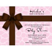 Party Invitations, Pink Gift With Brown Bow, Paper So Pretty