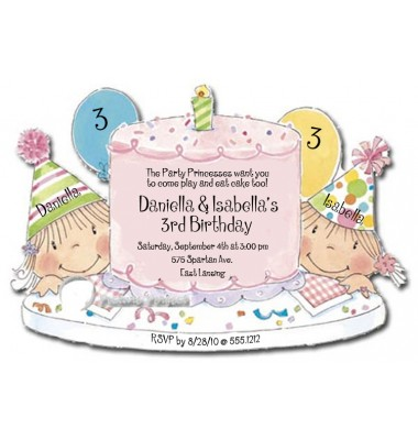 Twins Birthday Invitations, Happy Birthday Cake, Girls, Picture Perfect
