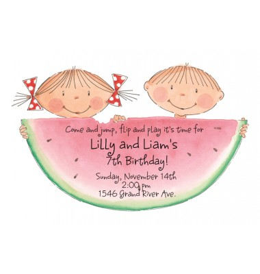 Birthday Invitations, Watermelon Kids, Picture Perfect