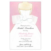 Bridal Shower Invitations, Back Bow Pink, Picture Perfect