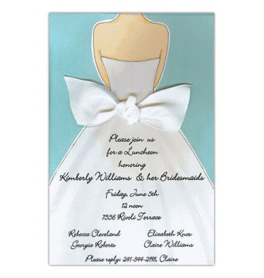 Wedding Shower Invitations, Bridal Gown Back Bow Blue, Picture Perfect