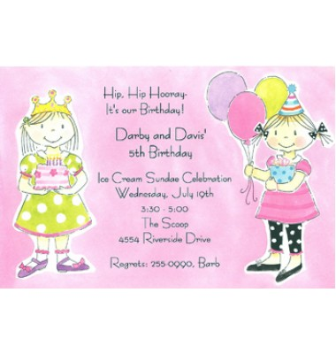 Girls Birthday Party Invitations, Twice The Fun
