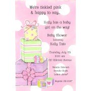 Baby Shower Invitations, Pink Stack Of Gifts