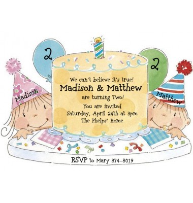 Twins Birthday Invitations, Happy Birthday Cake, Boy & Girl, Picture Perfect