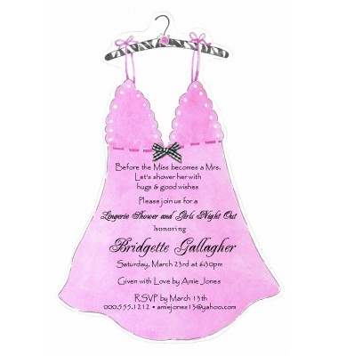 Lingerie Shower Invitations, Baby Doll Nightie, Picture Perfect