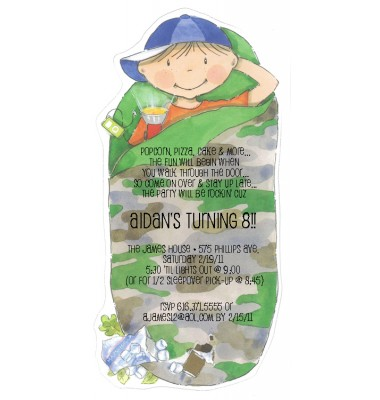 Sleepover Invitations, Camping Camo Peter, Picture Perfect