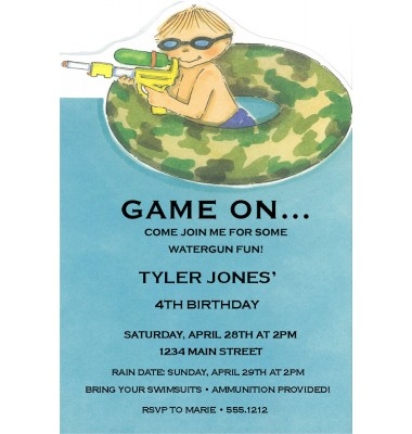 Pool Party Invitations, Water Gun, Picture Perfect