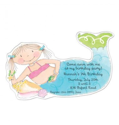 Pool Party Invitations, Mermaid,  Picture Perfect