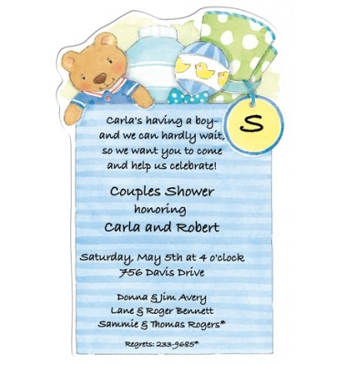 Baby Shower Invitations, Diaper Bag Blue, Picture Perfect