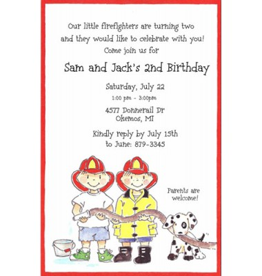 Twins Birthday Invitations, Twin Firemen, Picture Perfect
