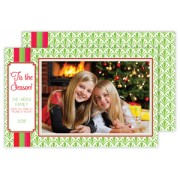 Christmas Photo Cards, Lime Pattern w/ Rugby, Roseanne Beck