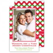 Christmas Photo Cards, Red/Green Basketweave Plaid, Roseanne Beck
