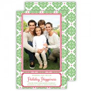 Christmas Photo Cards, Green Medallions, Roseanne Beck