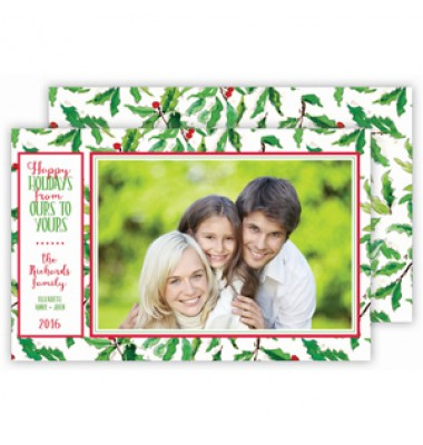 Christmas Photo Cards, Holly, Roseanne Beck