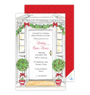 Christmas Invitations, Classic Front Door, Roseanne Beck