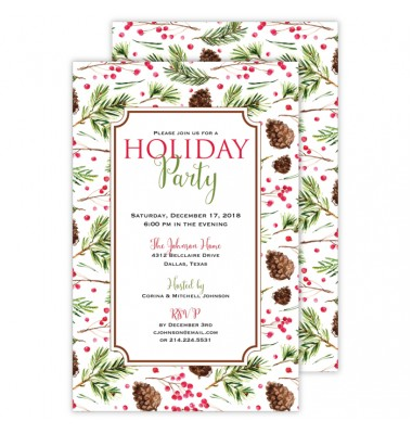 Christmas Invitations, Pinecones and Berries, Roseanne Beck