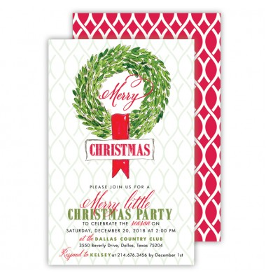 Christmas Invitations, Bay Wreath, Roseanne Beck