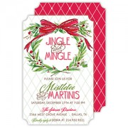 Christmas Invitations, Handpainted Wreath w/Bow, Roseanne Beck