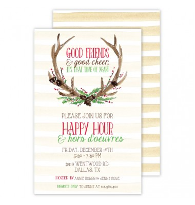 Christmas Invitations, Antlers, Roseanne Beck