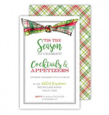 Christmas Invitations, Plaid Bow, Roseanne Beck