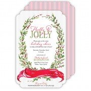 Christmas Invitations, Handpainted Holly Crest, Roseanne Beck