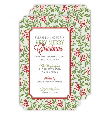 Christmas Invitations, Holiday Border, Roseanne Beck