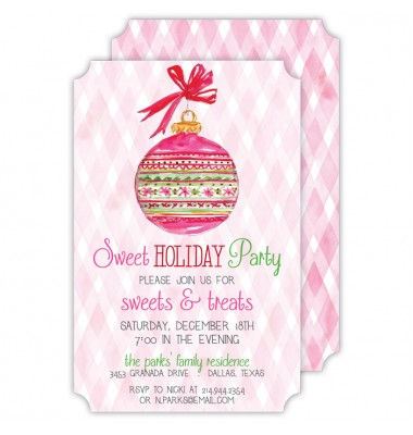 Christmas Invitations, Handpainted Ornament, Roseanne Beck