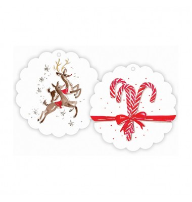 Christmas Gift Tags, Prancing Reindeer/Candy Canes, Roseanne Beck