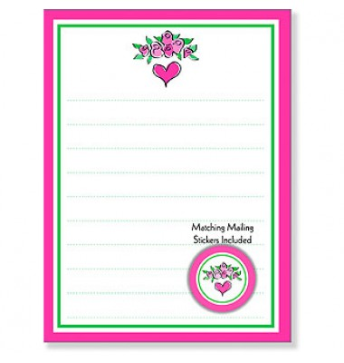 Kid's Lined Stationery, Bouquet Of Roses, San Lori