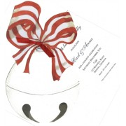 Christmas Invitations, Silver Bell With Red Bow, Stevie Streck