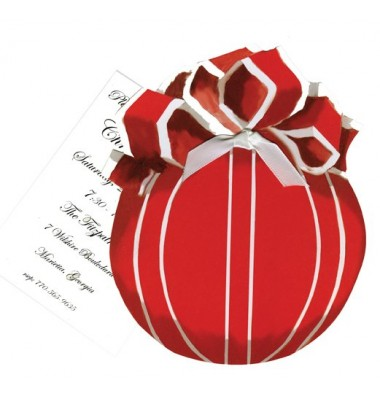 Christmas Invitations, Red Ornament with Bow, Stevie Streck