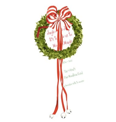 Christmas Invitations, Wreath with Bells, Stevie Streck
