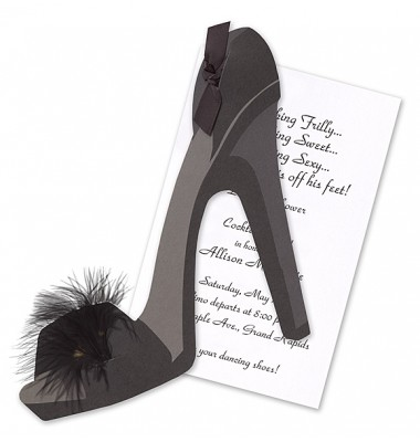 Party Invitations, Shoe with Black Feather, Stevie Streck