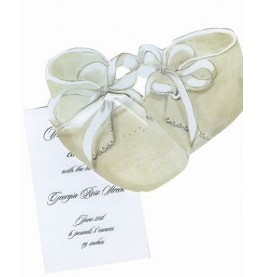 Baby Shower Invitations, Baby Booties with Pink, Blue or White Ribbon
