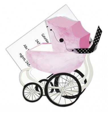Baby Shower Invitations, Pink Pram, Stevie Streck