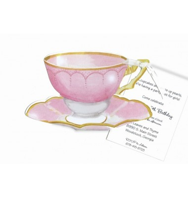 Tea Party Invitations, Pink Teacup With Glitter, Stevie Streck