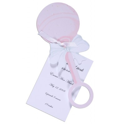 Baby Shower Invitations, Rattle Pink, Stevie Streck