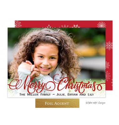 Christmas Digital Photo Cards, Christmas Fancy Script Snowflakes, Take Note Designs
