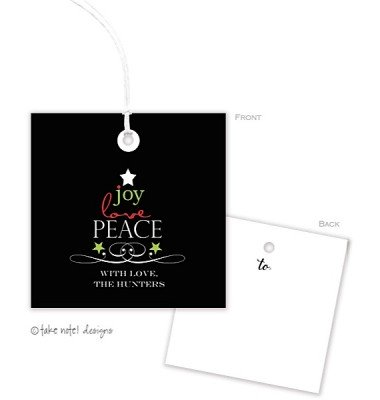 Christmas Gift Tags, Joy Love Peace, Take Note Designs