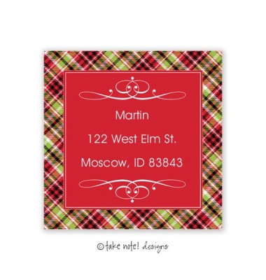 Christmas Return Address Labels, Plaid Squared, Take Note Designs