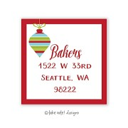 Christmas Return Address Labels, Red Trim Ornament, Take Note Designs