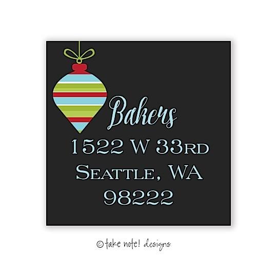 christmas return address labels ornament on black take note