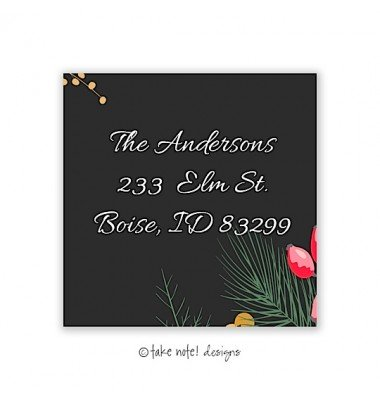 Christmas Return Address Labels, Christmas Greens, Take Note Designs