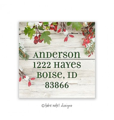 Christmas Return Address Labels, Rustic Evergreen Boughs, Take Note Designs
