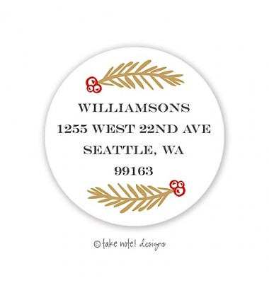 Christmas Return Address Labels, Vines, Take Note Designs
