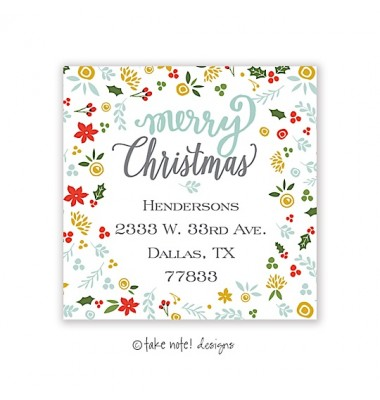 Christmas Return Address Labels, Christmas Sprig, Take Note Designs